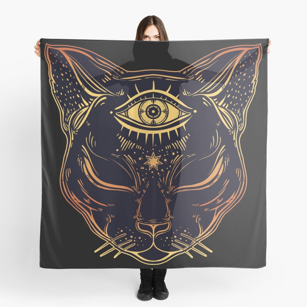 Egyptian Cat with Third Eye Open Scarf