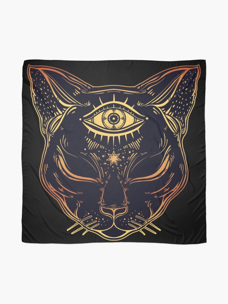 Alternate view of Egyptian Cat with Third Eye Open Scarf