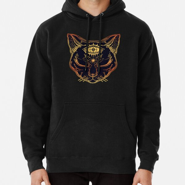 Egyptian Cat with Third Eye Open Pullover Hoodie