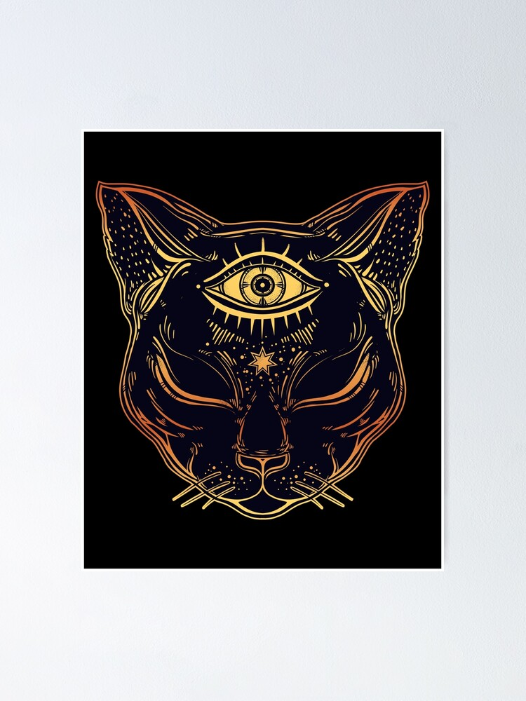 Alternate view of Egyptian Cat with Third Eye Open Poster