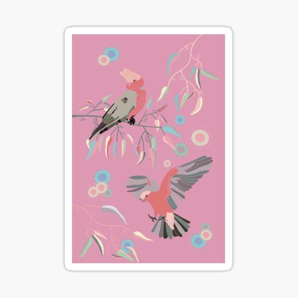 Australian Galah Cockatoos in Gum Trees on Pink Sticker