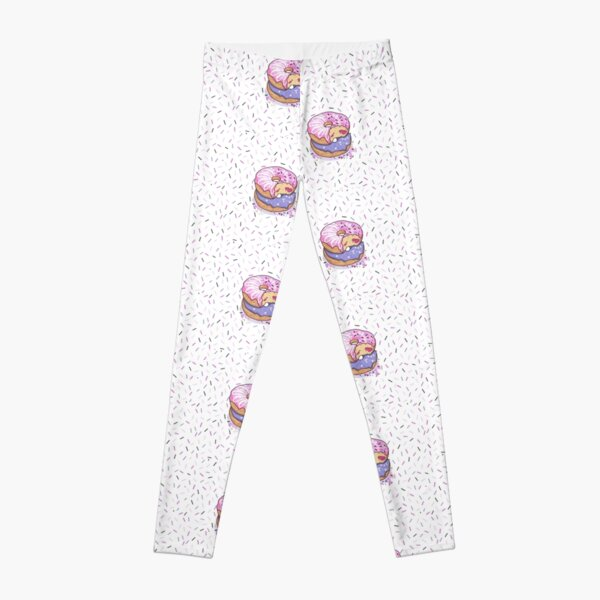 Donut pattern pink, purple, confetti background, jelly filled sprinkles, WHITE BACKGROUND Leggings