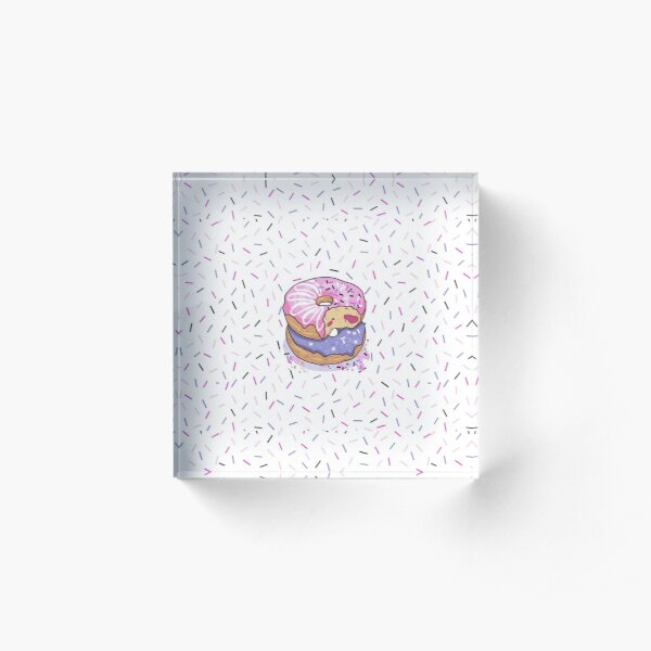 Donut pattern pink, purple, confetti background, jelly filled sprinkles, WHITE BACKGROUND Acrylic Block
