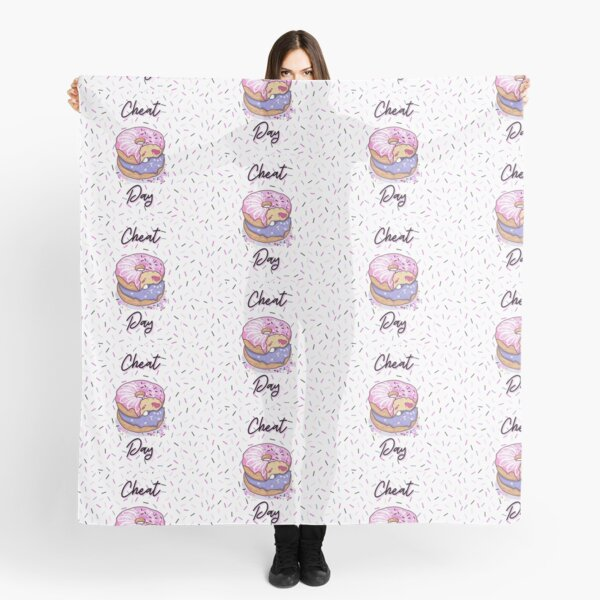 CHEAT DAY Donut pattern pink, purple, confetti background, jelly filled sprinkles, WHITE BACKGROUND Scarf