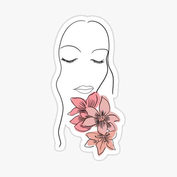 Line Art Woman Smelling Flowers Sticker