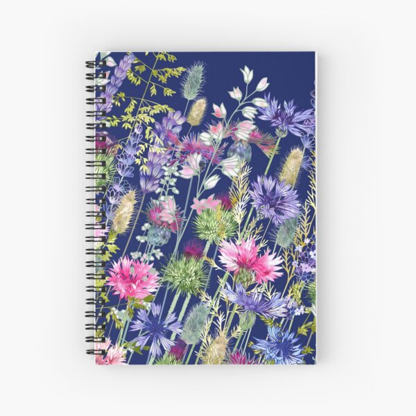 Flower Meadow - Cornflowers, Thistles & Lavender Spiral Notebook