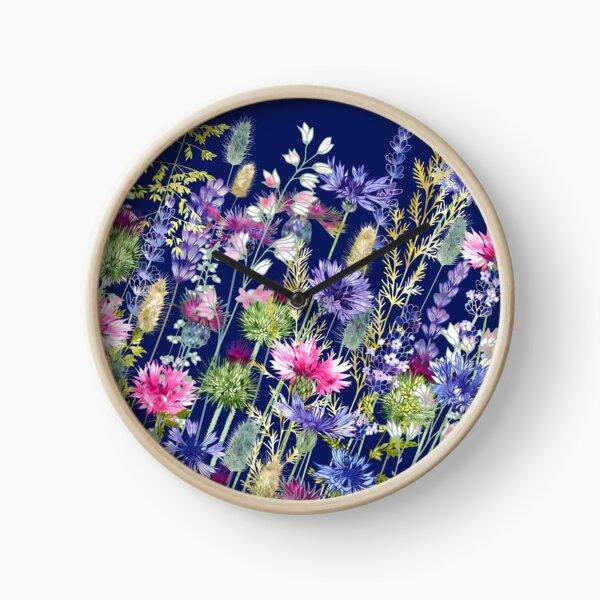 Flower Meadow - Cornflowers, Thistles & Lavender Clock