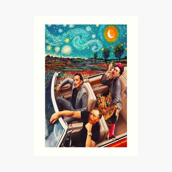 Salvador Dali y Vincent Van Gogh y Frida Kahlo en Car Starry Night Lámina artística
