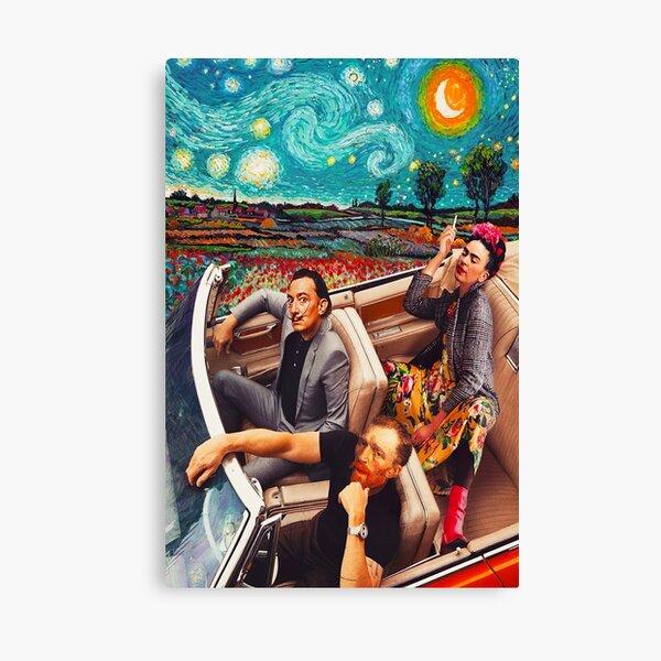 Salvador Dali et Vincent Van Gogh et Frida Kahlo en voiture la nuit étoilée Impression sur toile