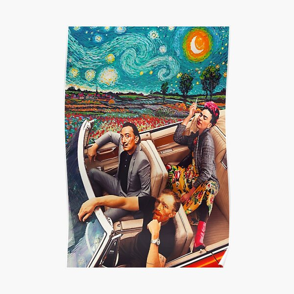 Salvador Dali y Vincent Van Gogh y Frida Kahlo en Car Starry Night Póster
