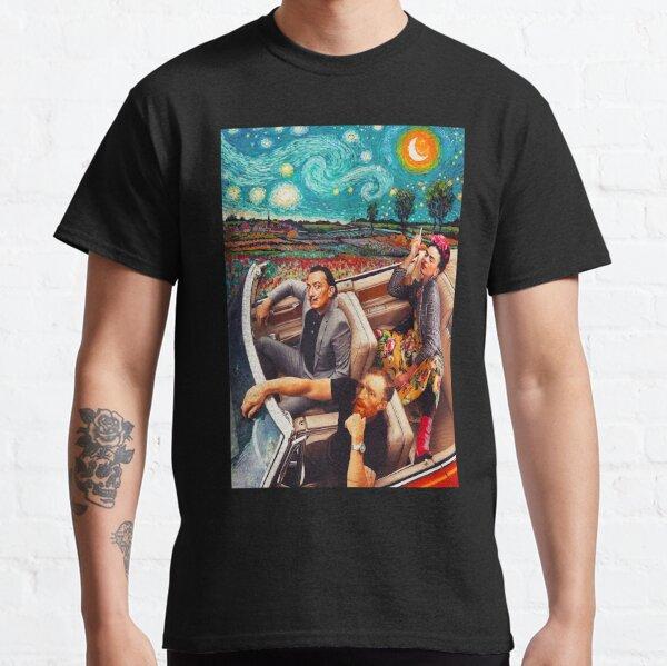 Salvador Dali y Vincent Van Gogh y Frida Kahlo en Car Starry Night Camiseta clásica