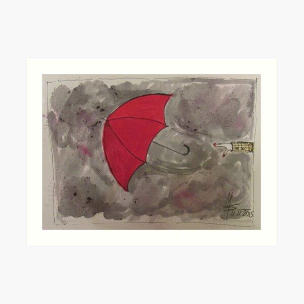 The Red flying Umbrella -Der fliegende rote Regenschirm Kunstdruck