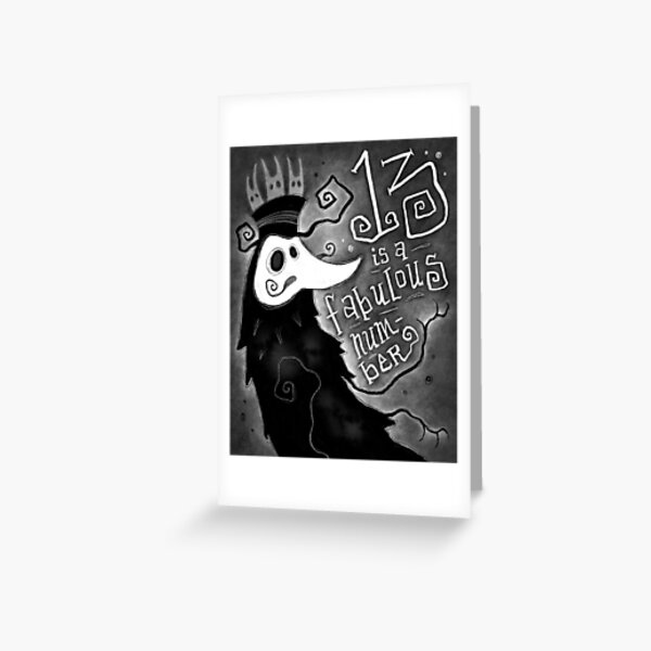 Thirteen is a Fabulous Number Spooky Plague Doctor Greeting Card