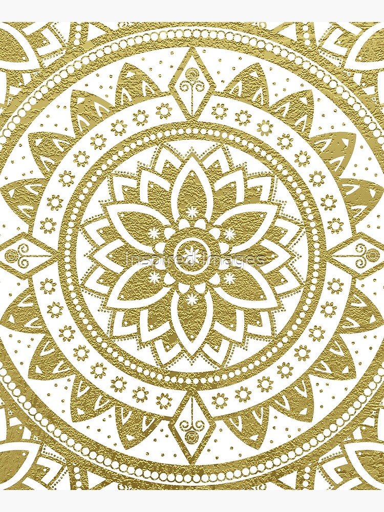 Mandala Spirit Flower / Zen Meditation Golden Hippie Mandala by ImageMonkey