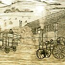 A digital painting of my pencil drawing of Steam Threshing in South Elmsall, Yorkshire early 1940s by Dennis Melling