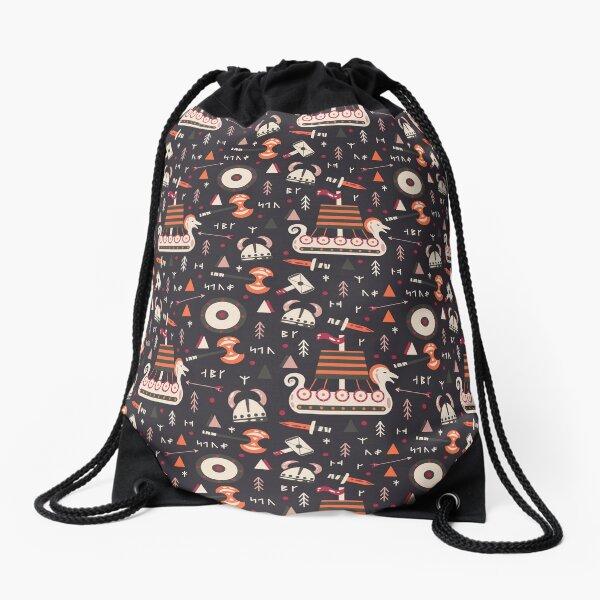 A Viking Fantasy Pattern Drawstring Bag