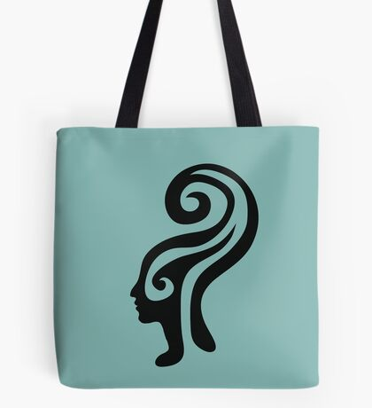 Thought-wave, retro graphic winding female profile portrait  Tote Bag