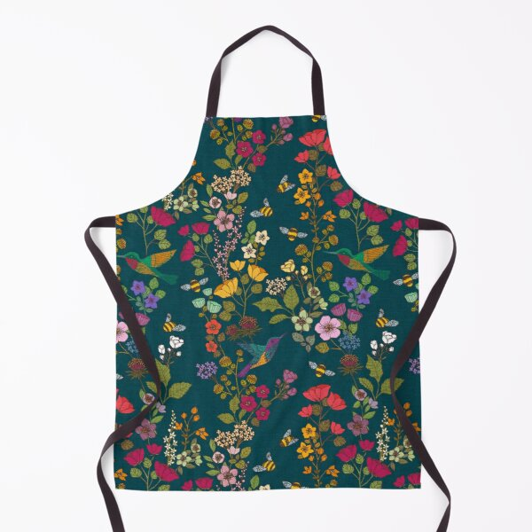 Hummingbirds and Bees Forest Garden Floral Apron
