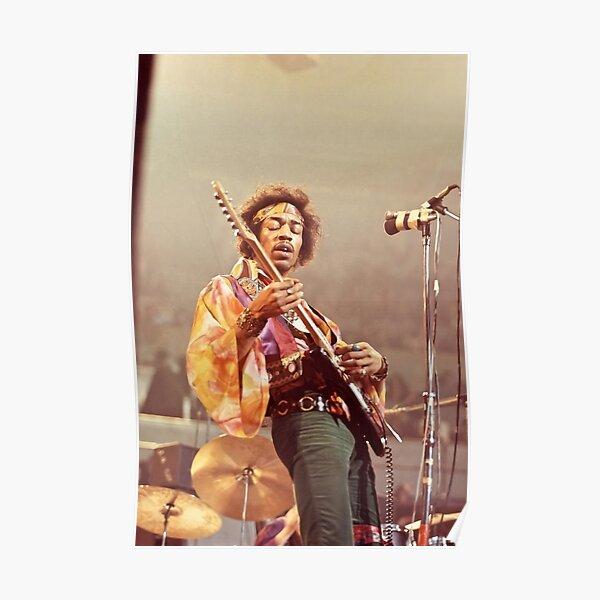 JimiHndrix Playing Guitar Poster