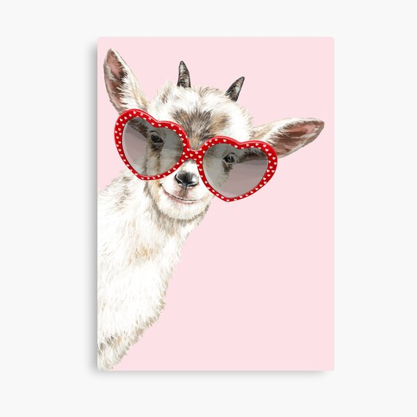 Hipster Goat with Glasses in Pink Canvas Print