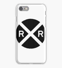 Black Railroad Crossing Sign iPhone Case/Skin