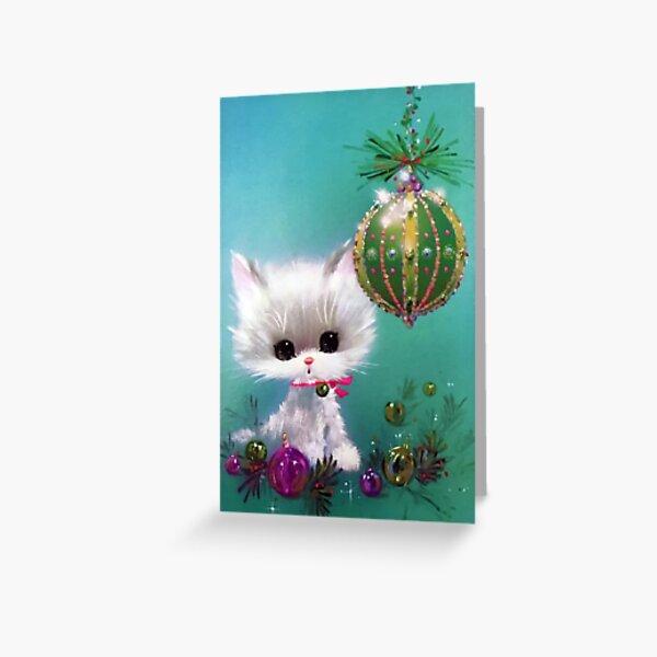 Retro Christmas Card  Kitty  Greeting Card