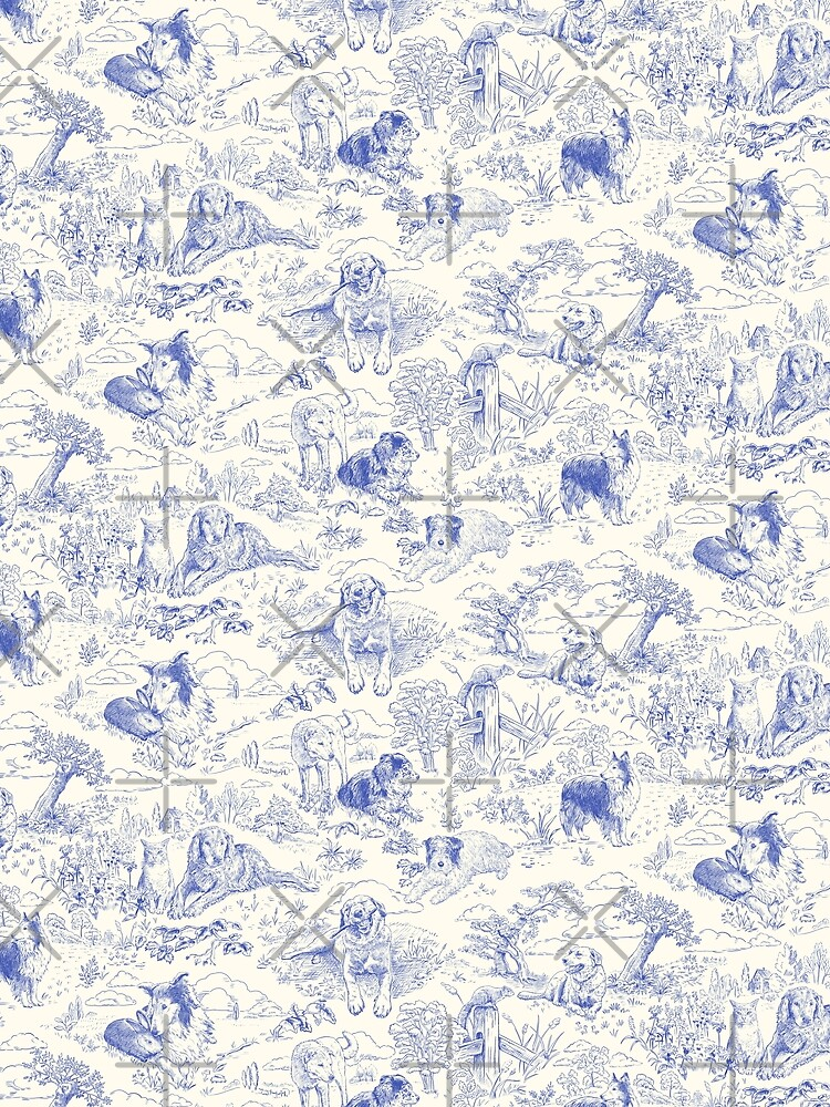 Country Dogs Toile with Collie, Aussie and Jack Russell Terrier in Blue and White by vinpauld