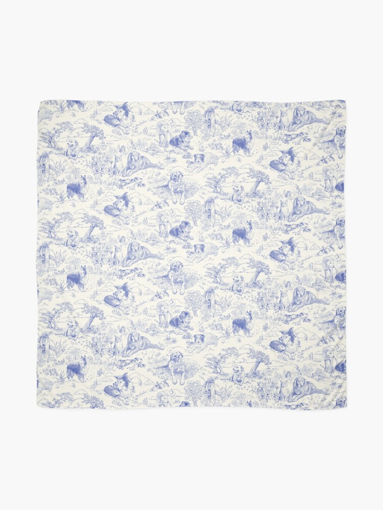 Alternate view of Country Dogs Toile with Collie, Aussie and Jack Russell Terrier in Blue and White Scarf