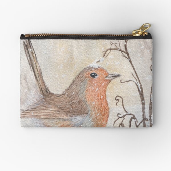 Playful Christmas Robin in Snow Zipper Pouch