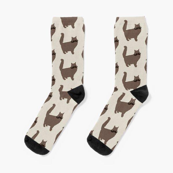 Lustige Movember Wortspiele - Movember Katze mit Schnurrbart - Meowember Socken