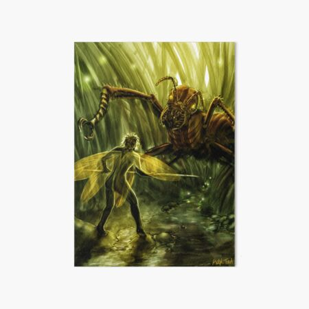 Fairy Confronting a Giant Ant in the Garden, Fantasy Art Board Print