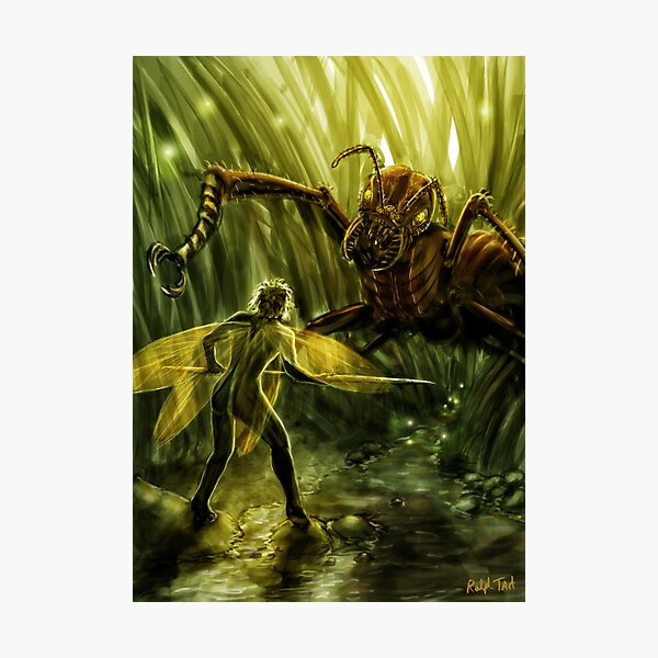 Fairy Confronting a Giant Ant in the Garden, Fantasy Photographic Print