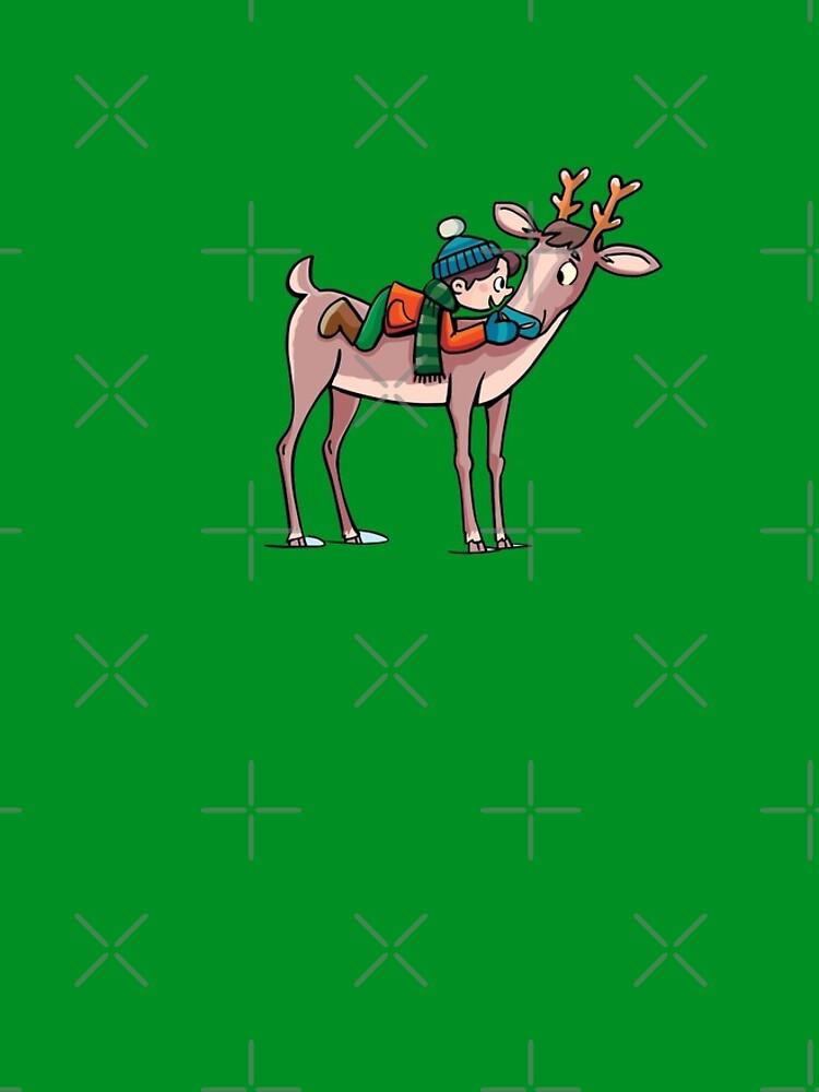 boy rides a reindeer by duxpavlic