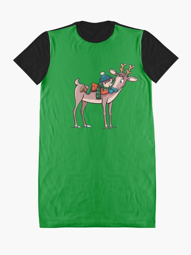 Alternate view of boy rides a reindeer Graphic T-Shirt Dress