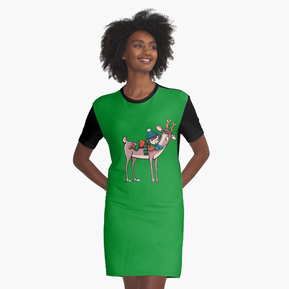 boy rides a reindeer Graphic T-Shirt Dress