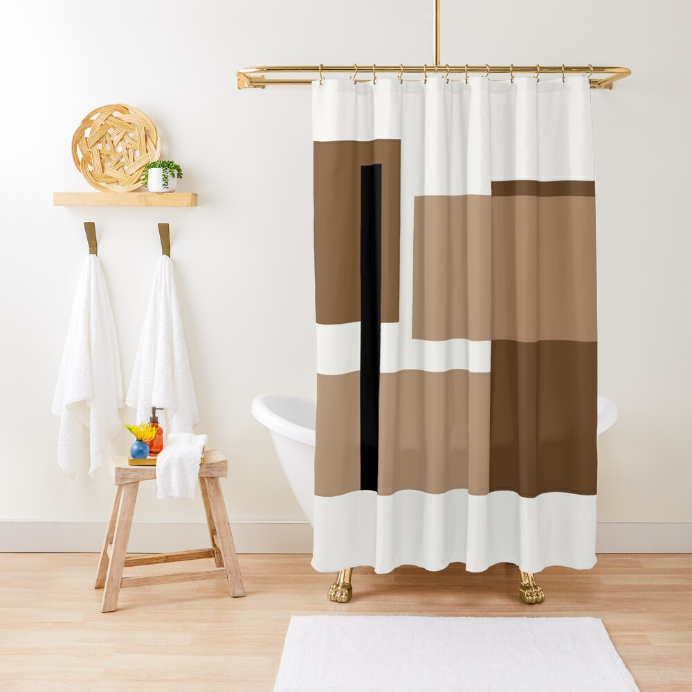 Neutral brown Abstract Shower Curtain