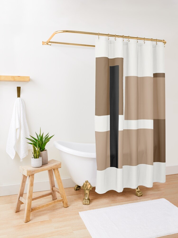 Alternate view of Neutral brown Abstract Shower Curtain