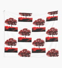 Lone Oak - Black White And Red Series Wall Tapestry