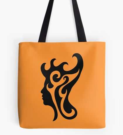 Thought-wave, male profile portrait in flames Tote Bag