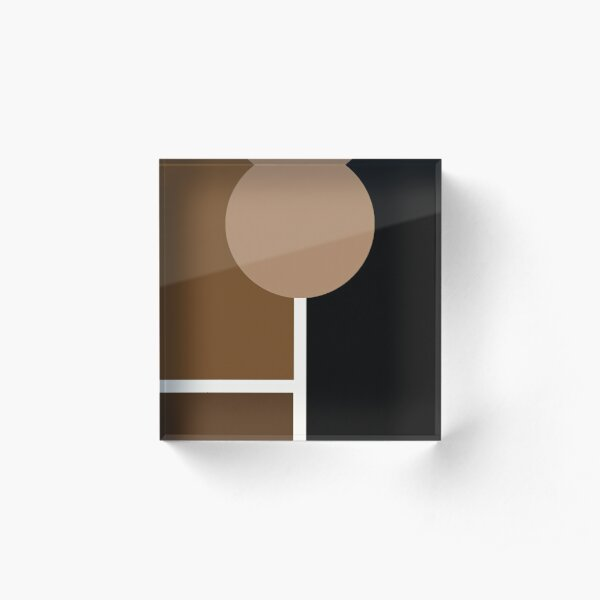 Neutral Brown Abstract Shapes Acrylic Block