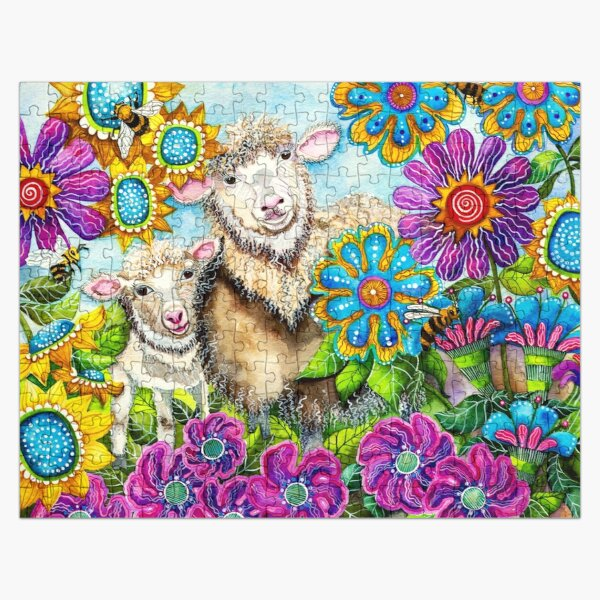 Sheep in the Summer Garden Jigsaw Puzzle