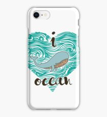 i love ocean (happy whale) Ocean iPhone Case/Skin