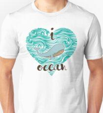 i love ocean (happy whale) Ocean Unisex T-Shirt
