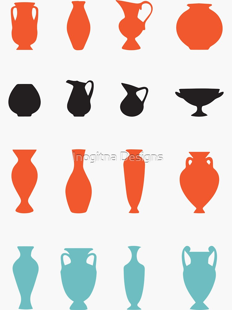 Pop Art Greek Vases Silhouettes Ancient Greece Pottery by inogitna