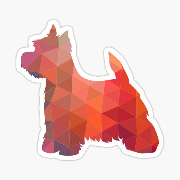 West Highland White Terrier - Westie - Geometric Pattern Silhouette Orange Sticker