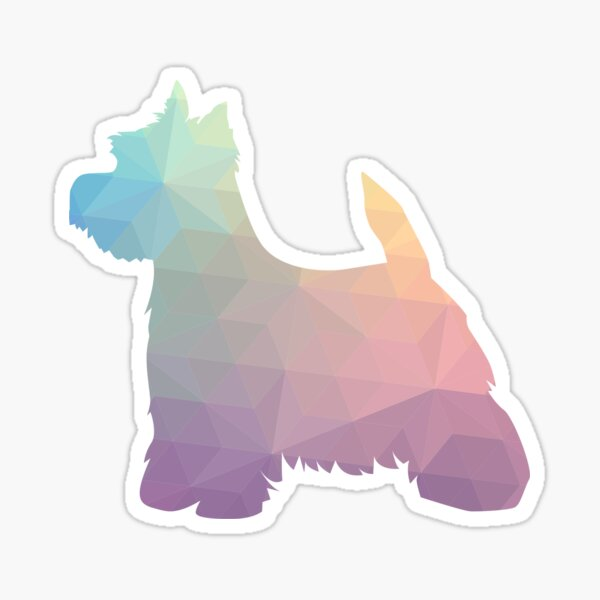 West Highland White Terrier - Westie - Colorful Geometric Pattern Silhouette - Pastel Sticker