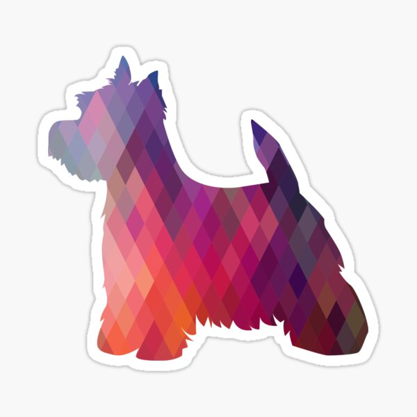 West Highland White Terrier - Westie - Colorful Geometric Pattern Silhouette - Pink Sticker