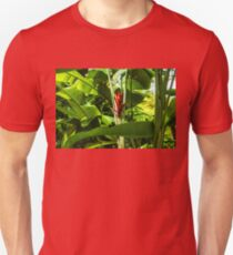 Tropical Impressions - Red Ginger Flower, Framed in Lush Jungle Green T-Shirt