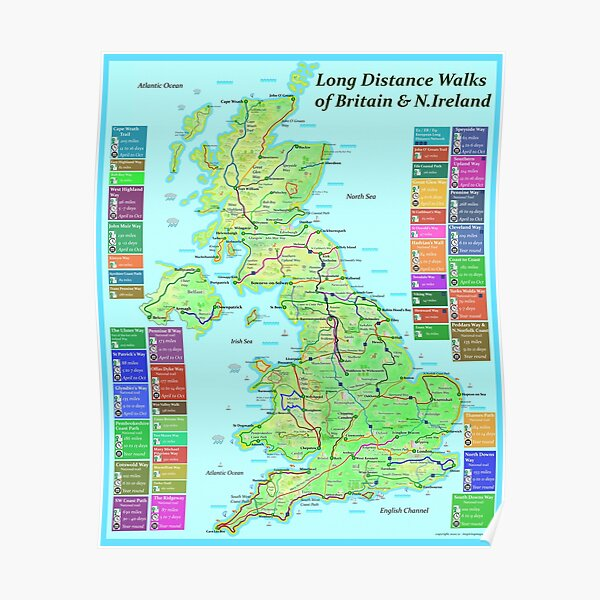 Long Distance Walks of Great Britain and N.Ireland Poster