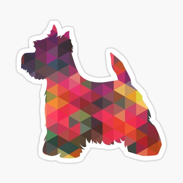 West Highland White Terrier - Westie - Colorful Geometric Pattern Silhouette - Multi Sticker